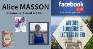 Facebook live – Alice Masson – Auteure – 05/04/2020